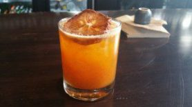 Holiday Fir (white fir-infused dolin dry vermouth, agave, lemon, cinnamon, persimmon)