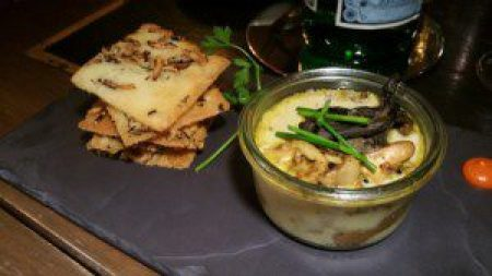 Mushroom, Curry Custard Jar, Crisp Rice Cake