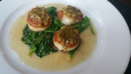 Pistachio Crusted Scallop (karashi, honey, sauteed pea shoots)