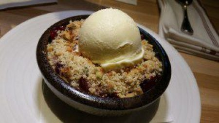 Baked Apple Streusel, spice cranberries, pumpkin seed, pistachio, Nilla Wafer ice cream