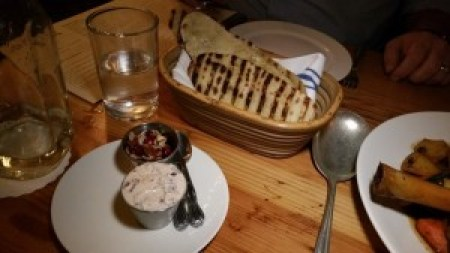 Citrus and Olive Yogurt and Grilled Flatbread
