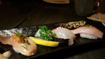 Albacore, Black Snapper on Black Rice, Toro