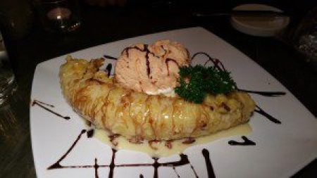 Banana Tempura with Plum Ice Cream