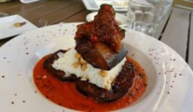 STUFFED EGGPLANT (Caramelized onion-red pepper stuffed eggplant/parsley / rice with chickpeas / tomato sauce)