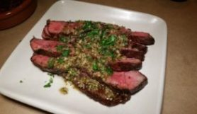 Flat-Iron Steak from Niman Ranch with Roasted Jalapeño Chimichurri