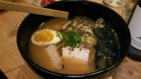 Tonkotsu Ramen (pork belly, black garlic, shimeji mushrooms, toasted nori, onsen egg)