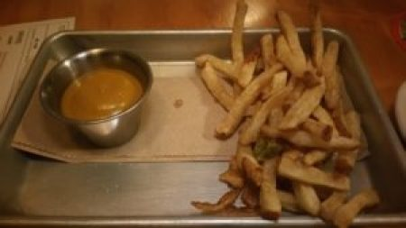 Brine pickled french fries, smoked apple sauce