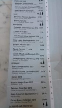 In Situ Wine List