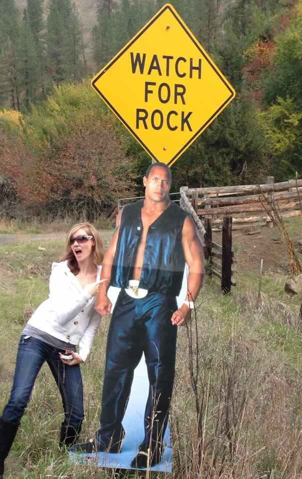 Family Goes Pun Crazy With Cardboard Cut Out Of The Rock