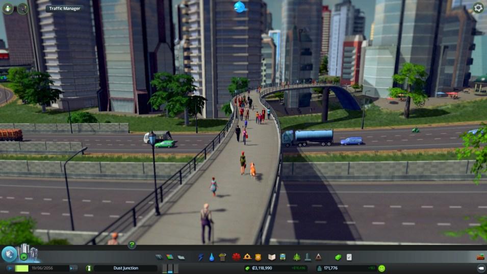 Fußgängerbrücken in Cities Skylines machen viel aus, da sie Hindernisse effizient überwinden können