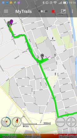 MyTrails Karte und Track