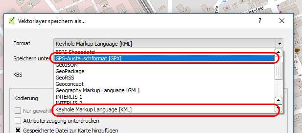 QGIS KML- und GPX-Export