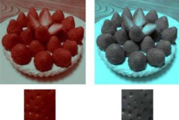 Como você pode ver na imagem à direita, os morangos avermelhados são cinza de perto.