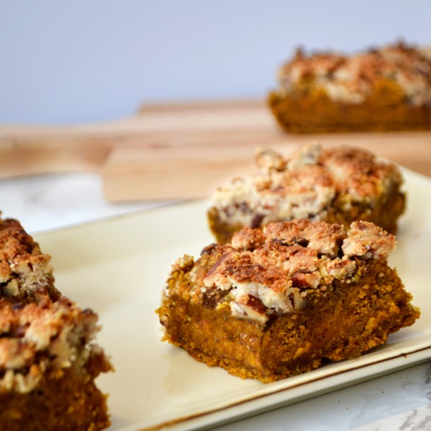 vegan gluten free pumpkin spice coffee cake with pecan crumble