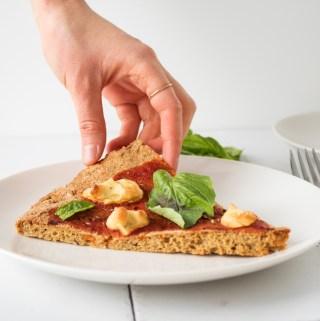 vegan margherita pizza with melty cashew mozzerella