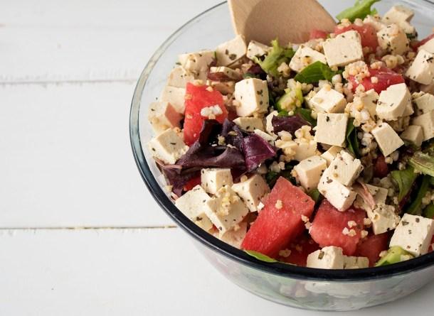 watermelon arugula salad with vegan tofu feta