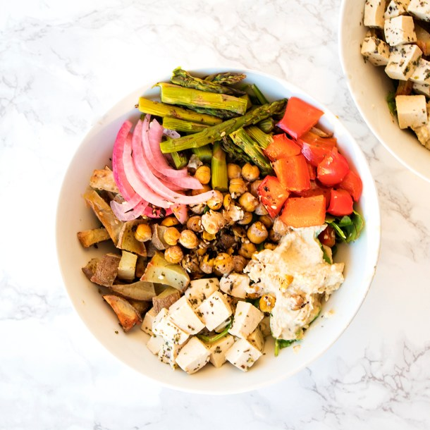 Vegan Mediterranean Bowl with Tofu Feta