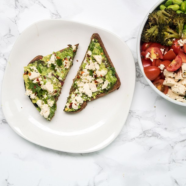 avocado toast with tofu feta