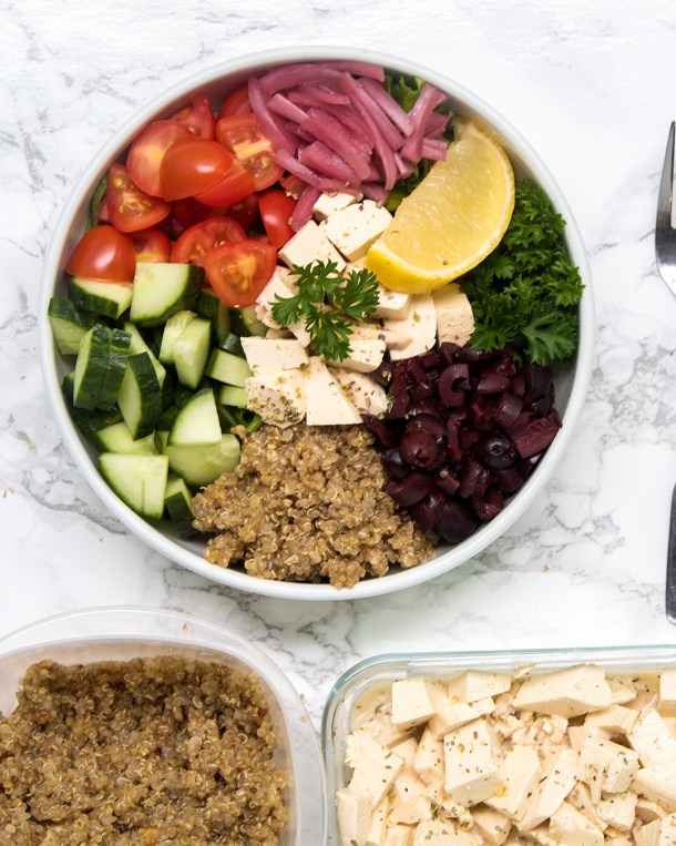Vegan greek quinoa salad