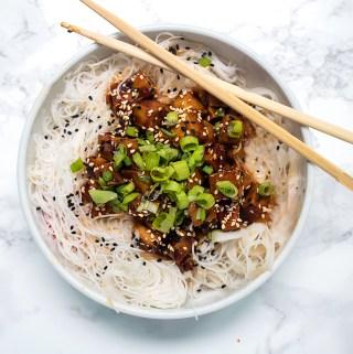 vegan sticky sesame ginger tofu