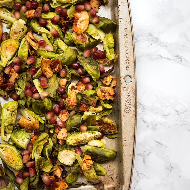 Vegan Brussels Sprouts with coconut bacon