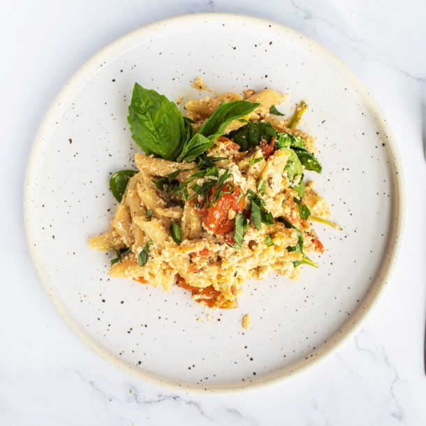 Vegan baked feta pasta with cherry tomatoes