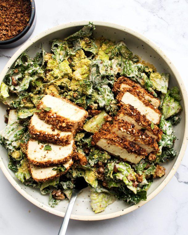 Vegan Breaded Tofu Caesar Salad
