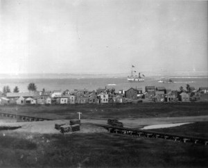 The steamer Atlantic on Lake Superior of Minnesota Point near Duluth in June of 1874 or 1875. The Penners travelled a year or two later and experienced a lot more ice on the lake than is shown on this photo. Photo Credit: Hennepin County Library Special Collections.