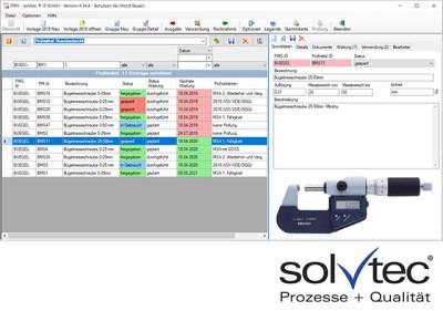 Prüfmittelverwaltung- Kunststoffbranche. Informationen von solvtec