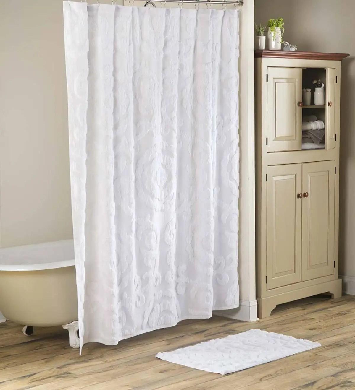 plush chenille bath set shower curtain and bath mat