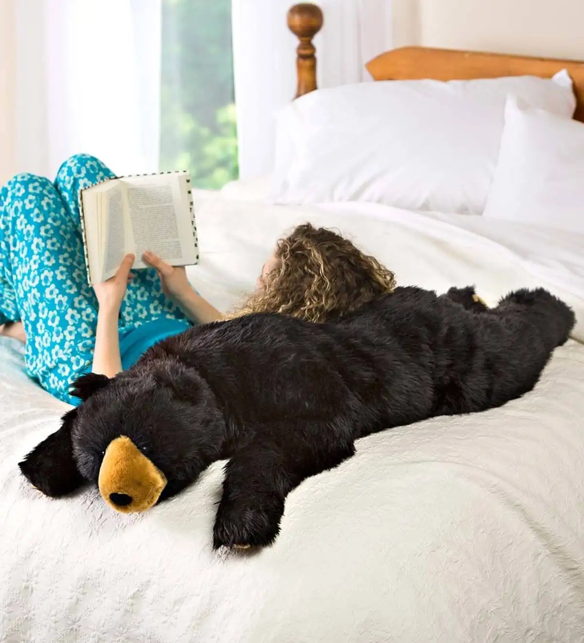 black bear plush cuddle animal body pillow