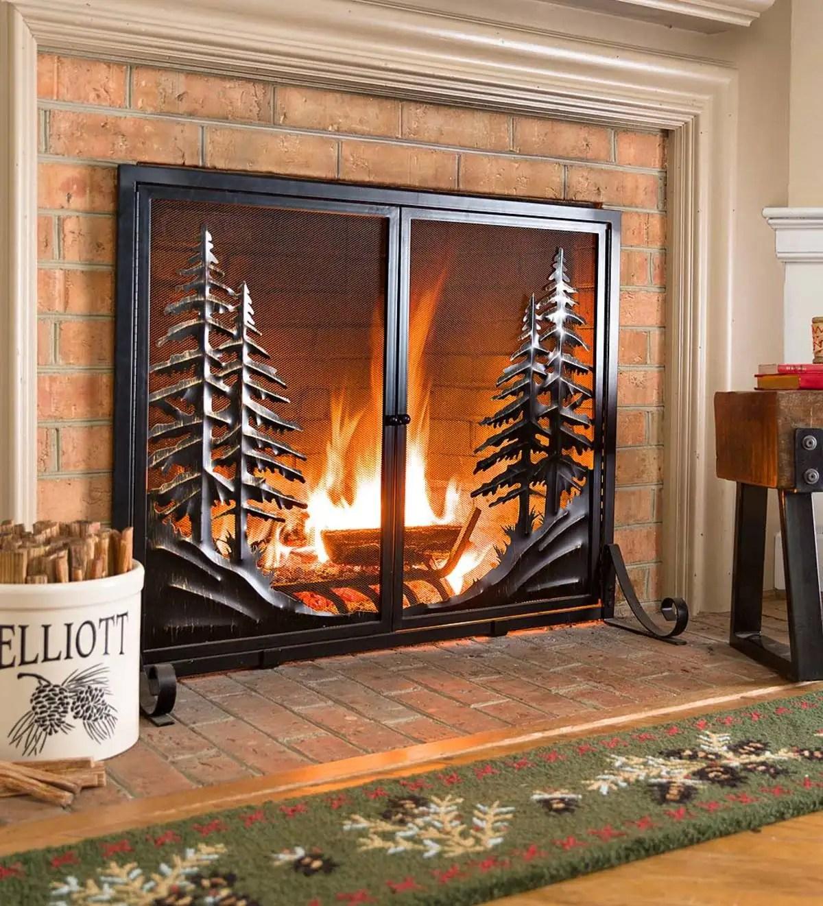 alpine fireplace screen with doors