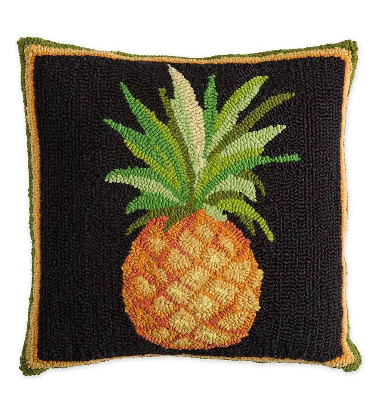 indoor outdoor pineapple hooked throw pillow