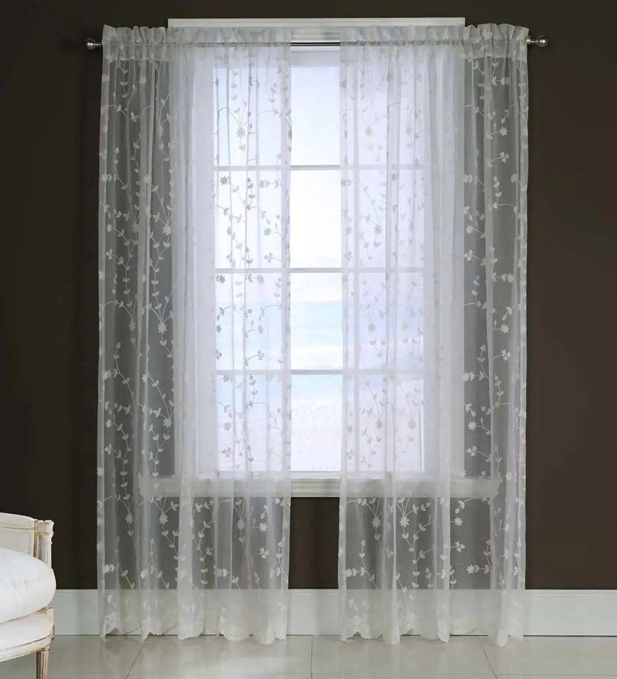 candlewicking embroidered sheer curtain