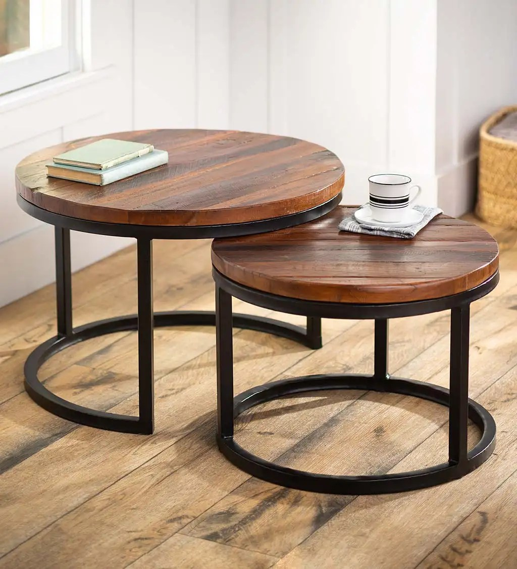 allegheny reclaimed wood round nesting tables set of 2