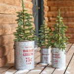 Vintage Style Holiday Galvanized Metal Buckets Set Of 3 Plowhearth