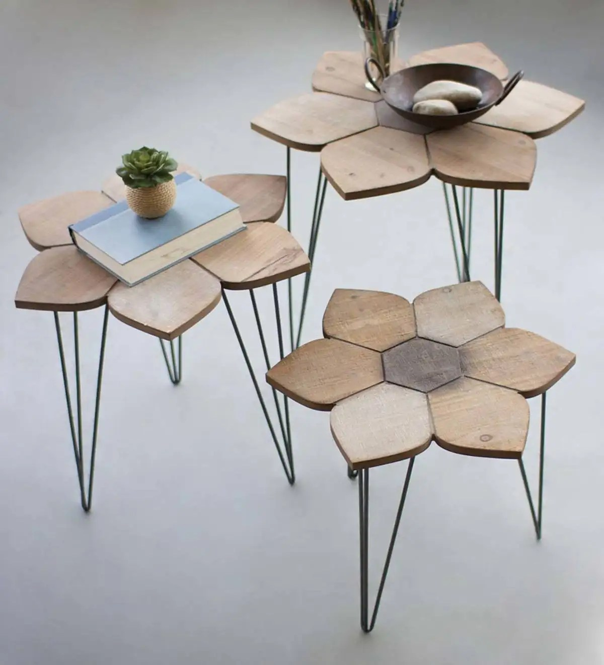Wood Flower Top Nesting Tables Set Of 3 Plowhearth