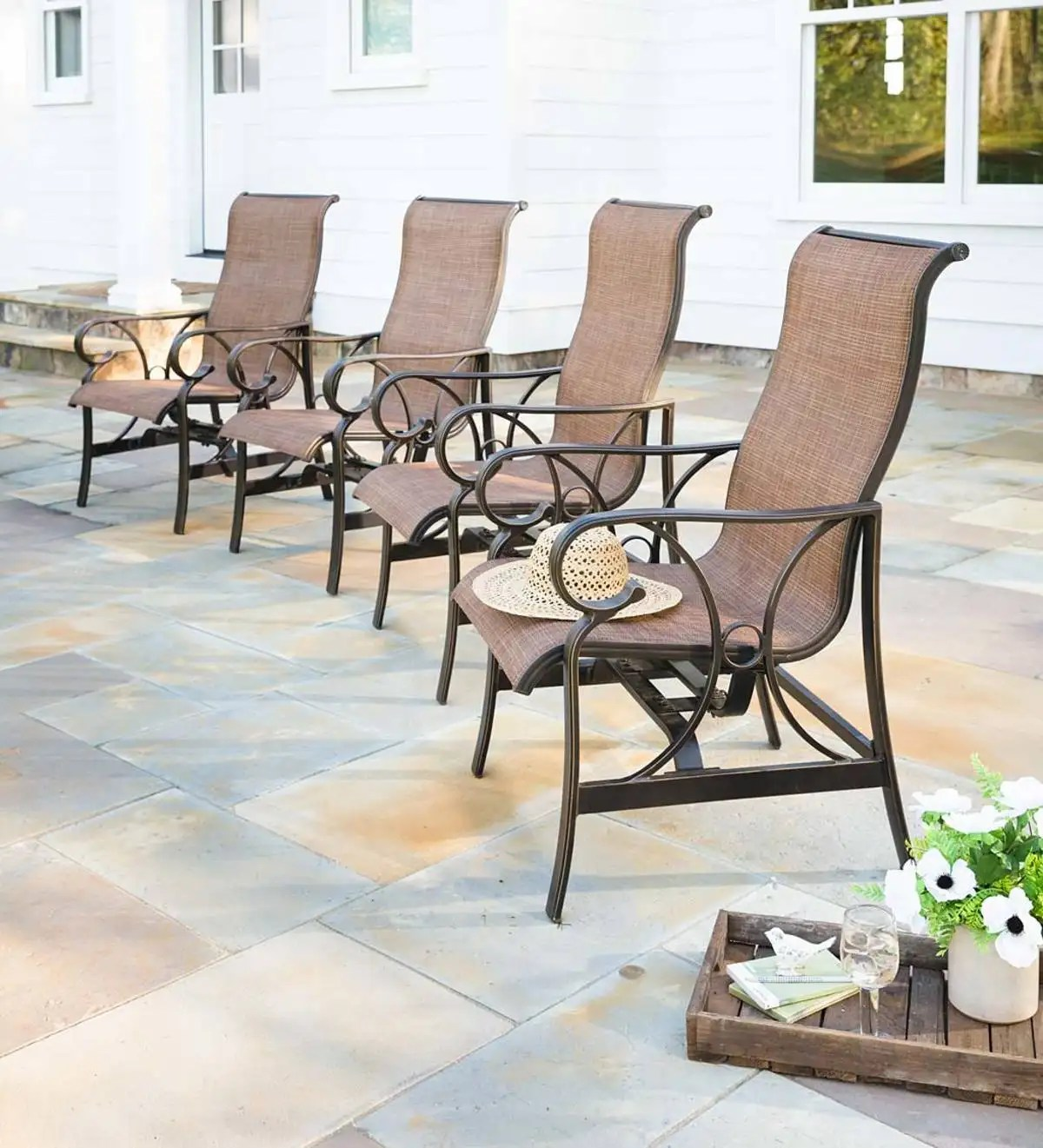 high back patio sling chairs set of 4