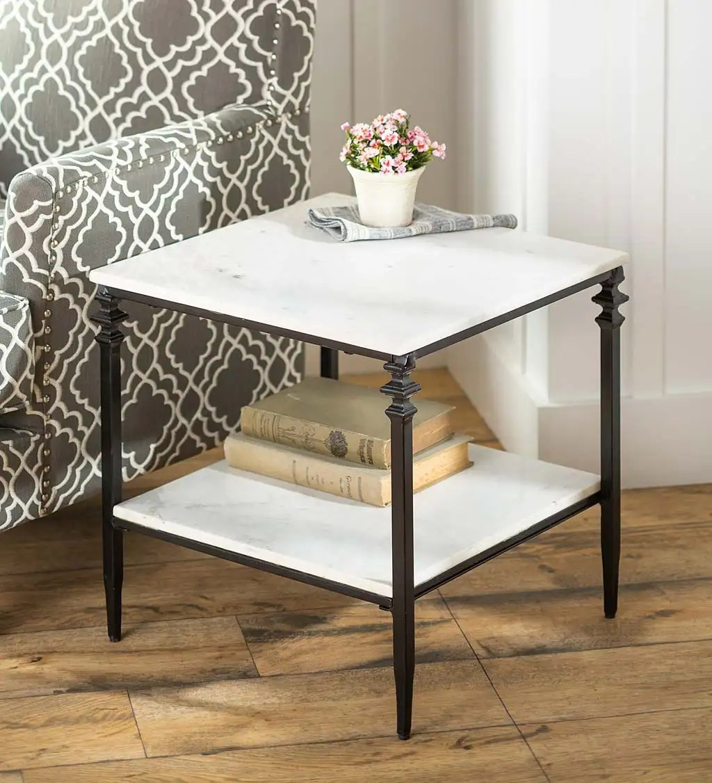 indoor outdoor nottoway white marble end table plowhearth