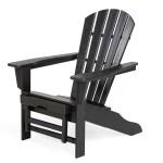 Polywood Adirondack Chair With Hideaway Ottoman Black Plowhearth