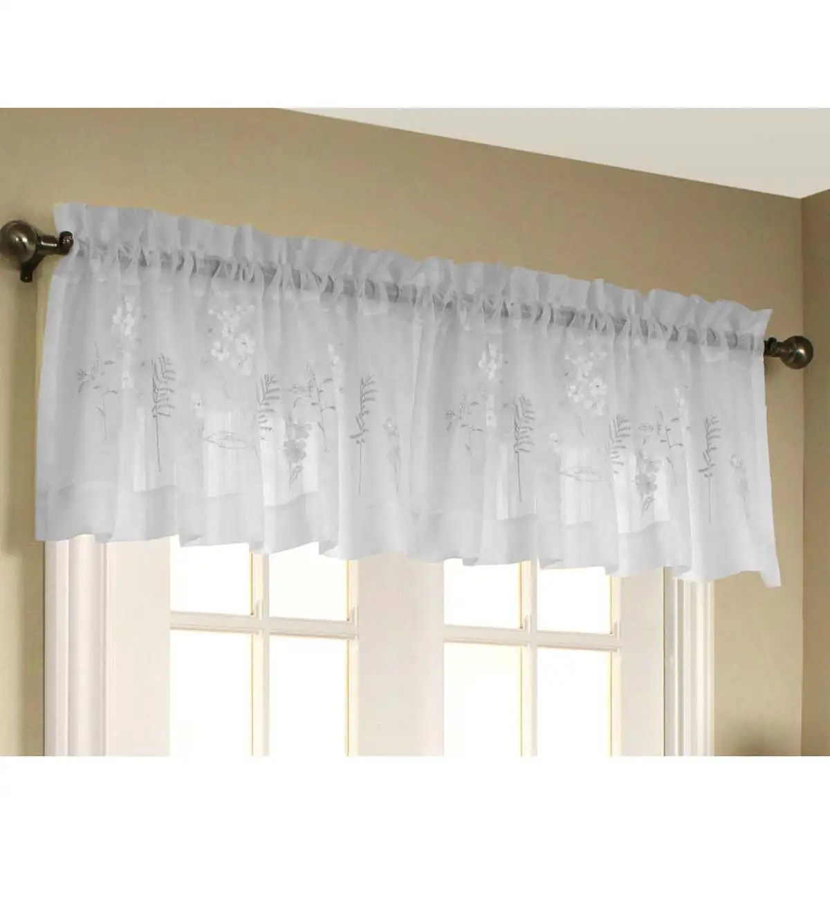 Embroidered Hydrangea Sheer Curtain Panels Tiers