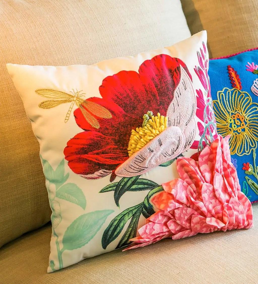 vivid flower bouquet textured 3d throw pillow