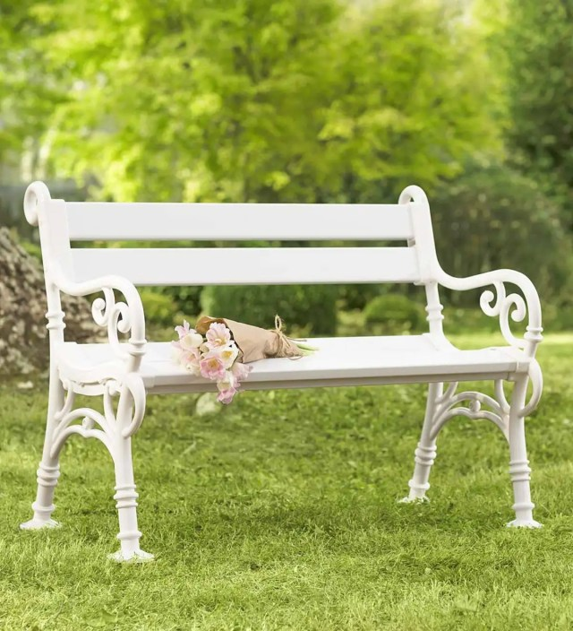 weatherproof pvc garden bench with scroll arms   outdoor benches
