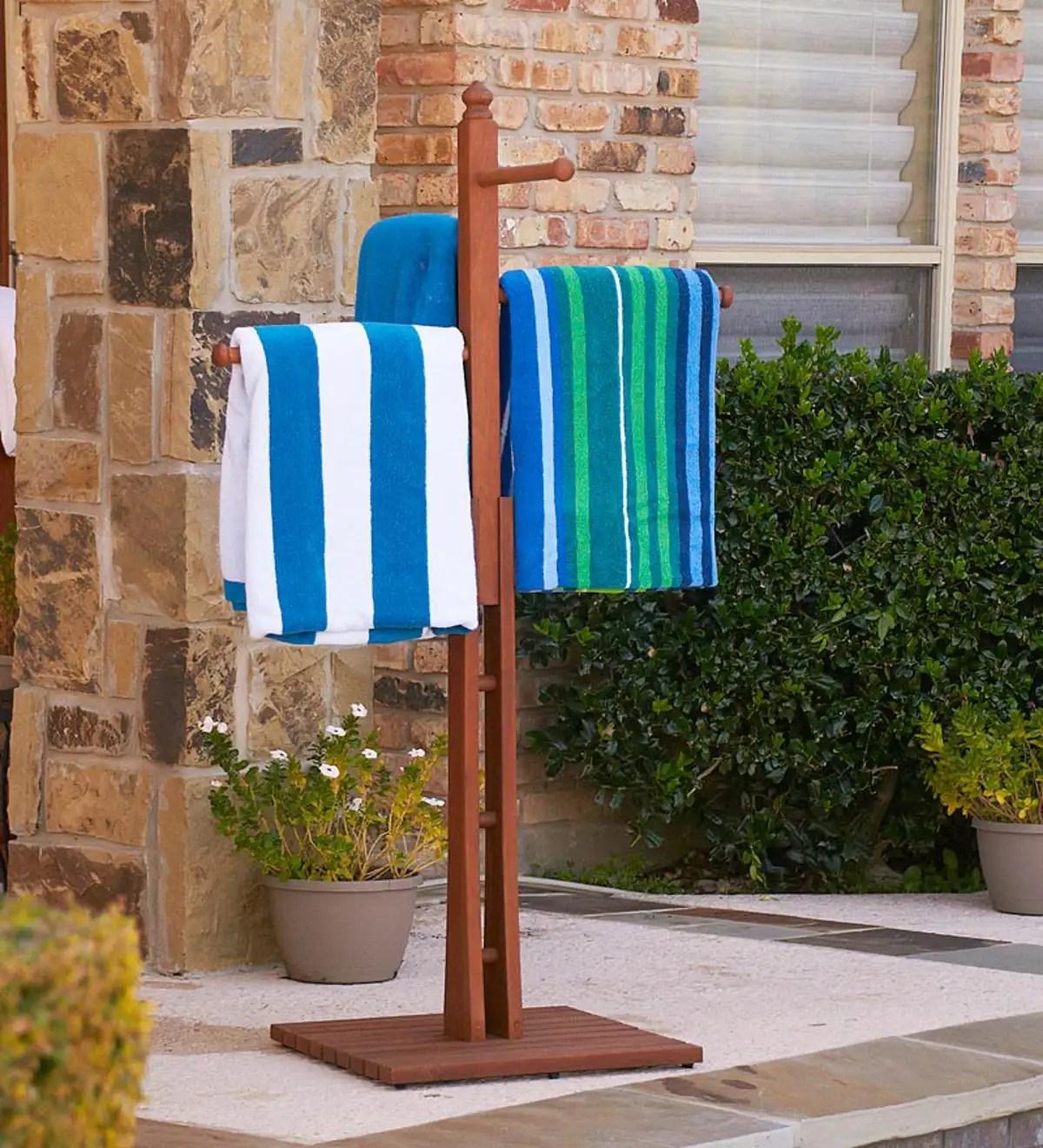 eucalyptus hardwood freestanding outdoor towel rack