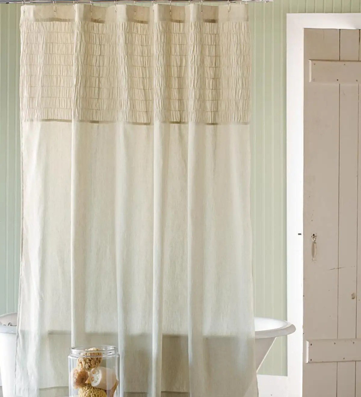 ruched linen shower curtain