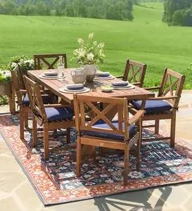 claremont outdoor dining furniture eucalyptus table and chairs plowhearth