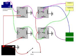 Wiring plow lights hilow beam with relays | PlowSite
