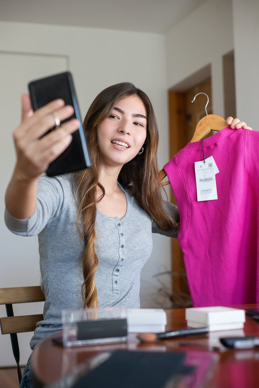 a woman engaged in online selling