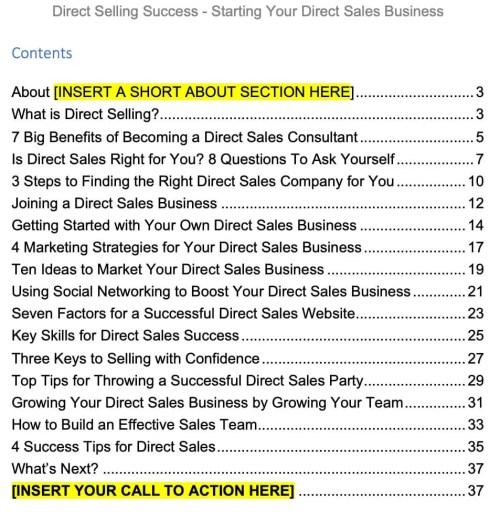 direct-sales-plr-ebook-contents