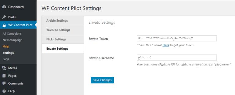 Setting Envato token in WP Content Pilot